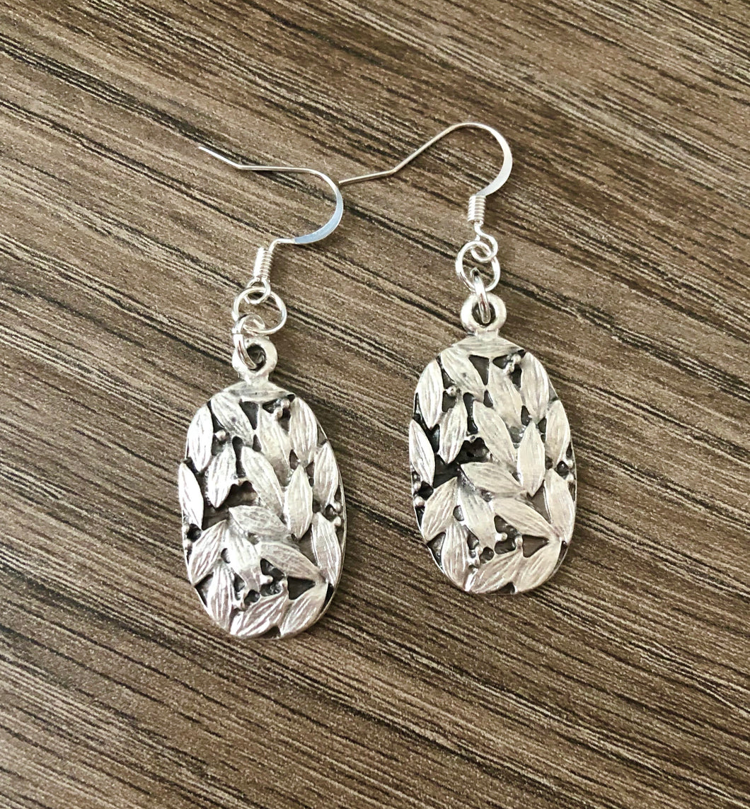 Oval Leaf Earrings