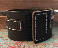 Load image into Gallery viewer, Black Leather Cuff-Roll