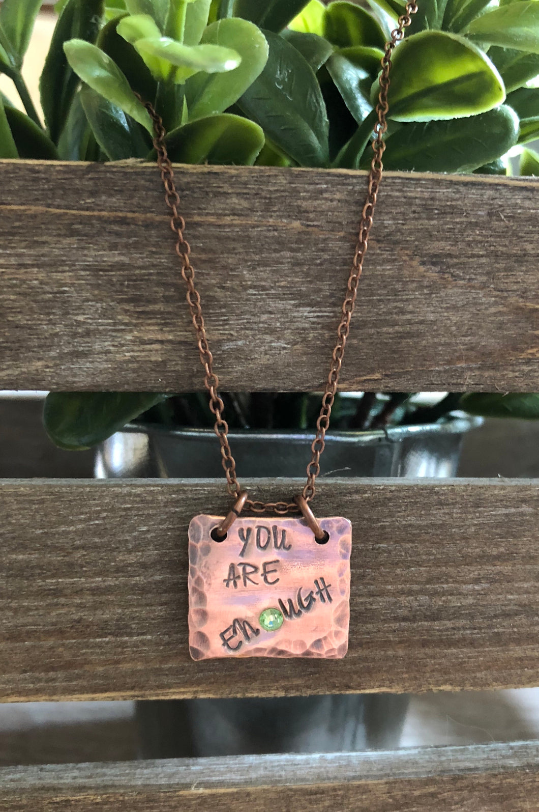 Hand Stamped Copper Necklace