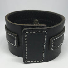 Load image into Gallery viewer, Black Leather Cuff with Riveted Cross