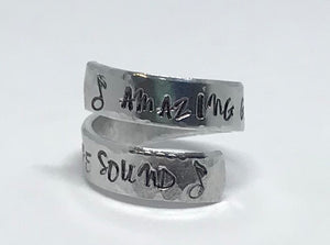 Hand Stamped Wrap Ring - Amazing Grace