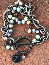 Load image into Gallery viewer, Gunmetal Cross with Blue Agate