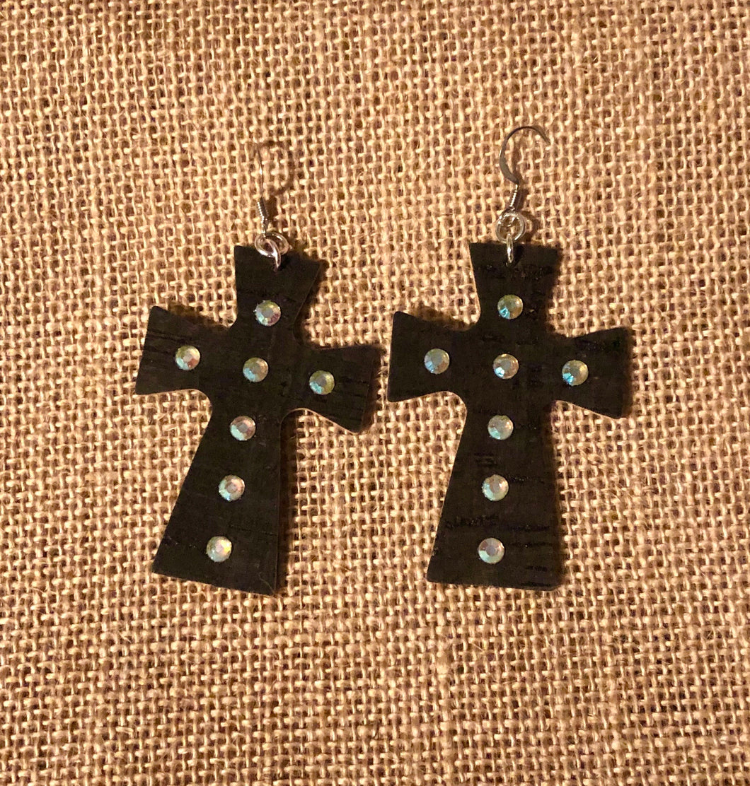 Leather Cross Earrings with Crystals