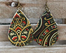 Load image into Gallery viewer, Leather Earrings with Paisley