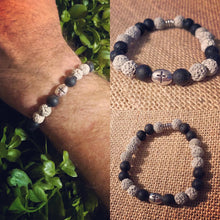 Load image into Gallery viewer, Lava Rock Bracelet with Cross