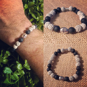 Lava Rock Bracelet with Cross