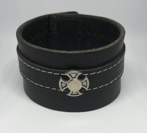 Black Leather Cuff with Riveted Cross