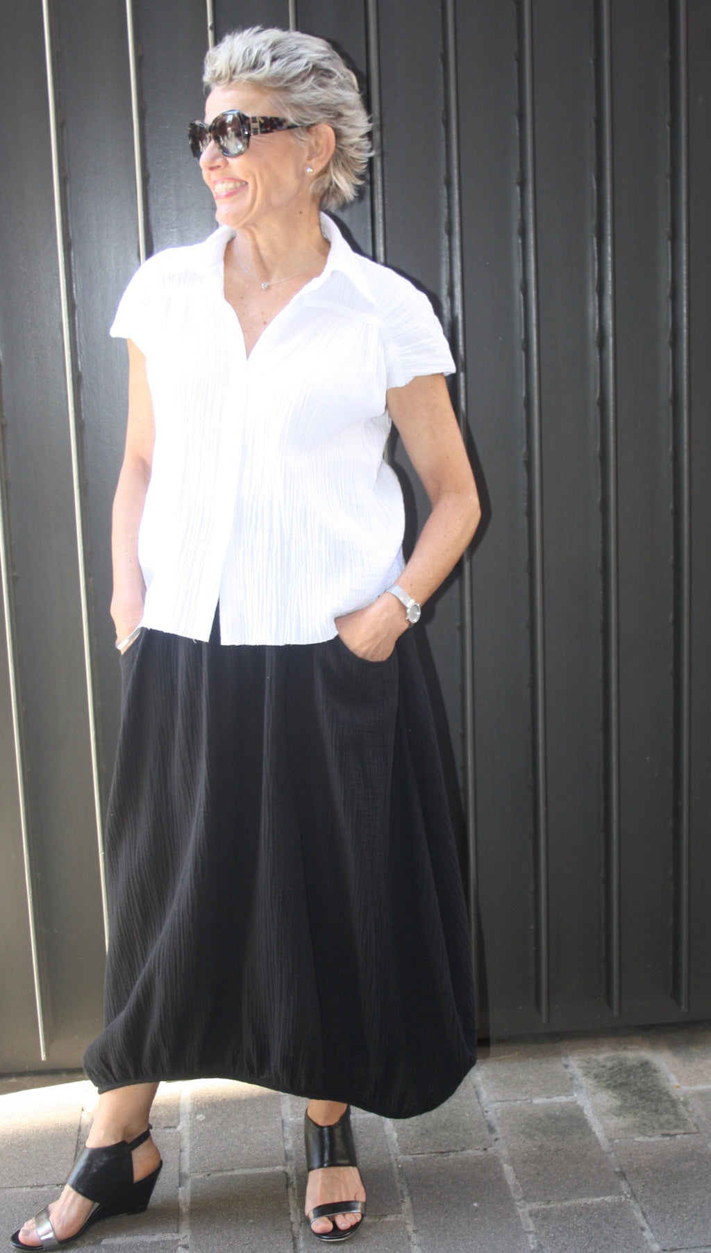000520/ Skirt- 100% Cotton Crinkle