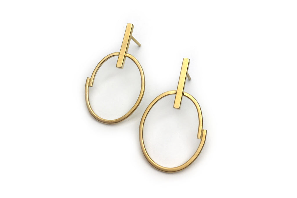 Oval & Bar Studs - 14K Gold Vermeil