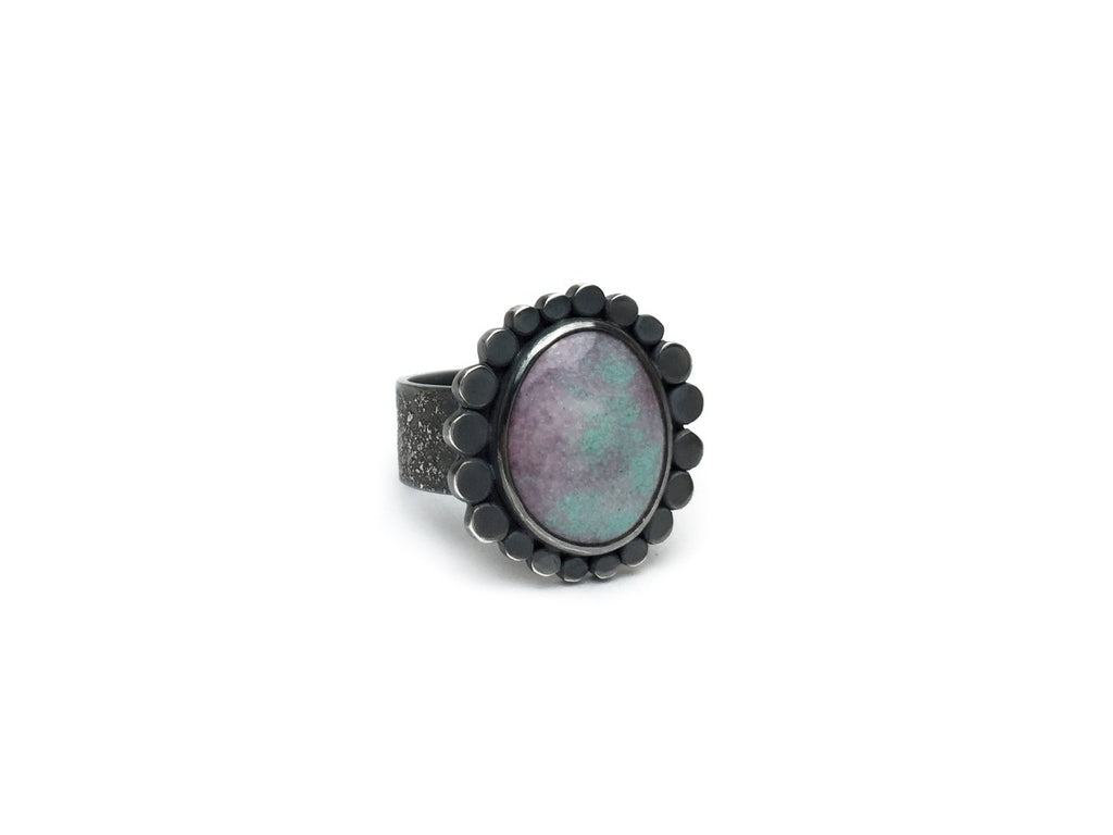 Seafoam & White Dot Ring - Full Halo