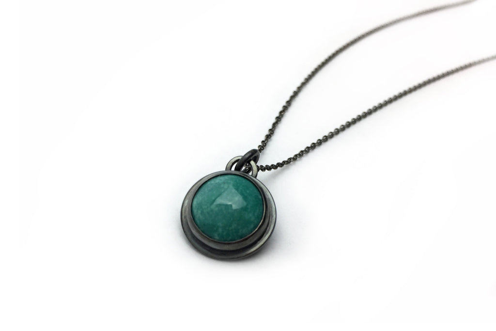 Teal Everyday Bezel Necklace - Small