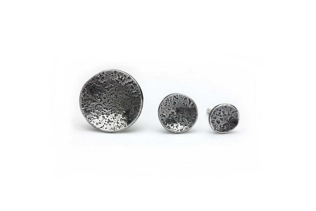 Speckled Studs - Oxidized Sterling Silver