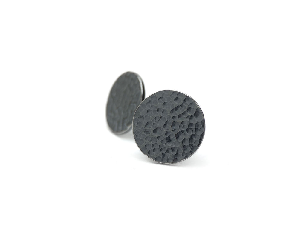 Crater Studs - Oxidized Sterling Silver