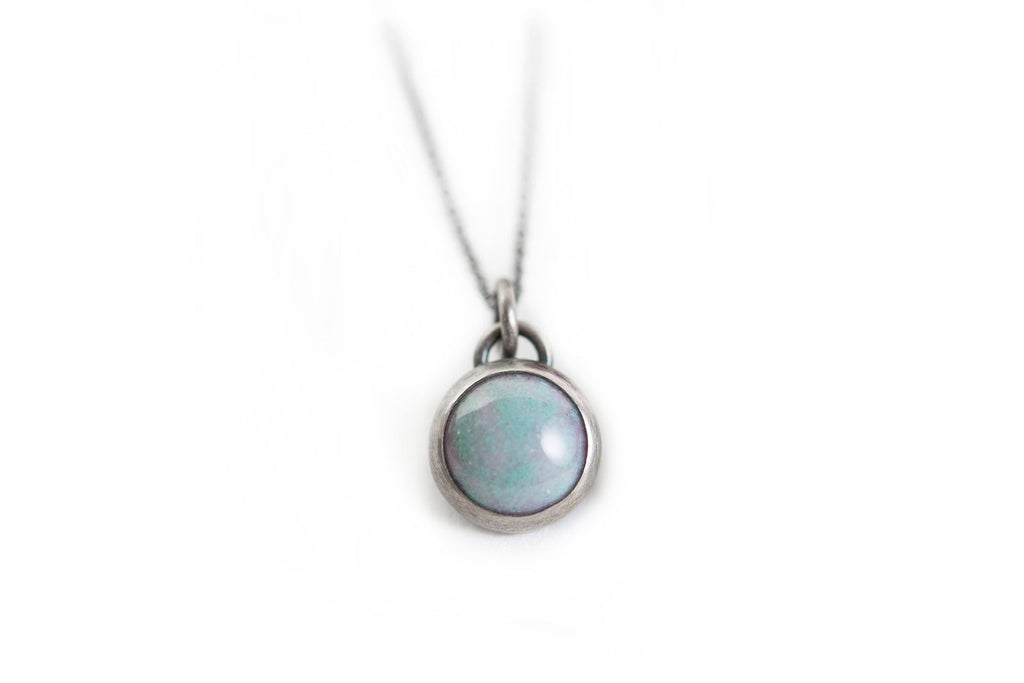 Seafoam Everyday Bezel Necklace - Tiny