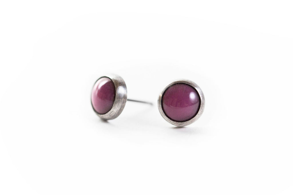 Berry Everyday Bezel Studs
