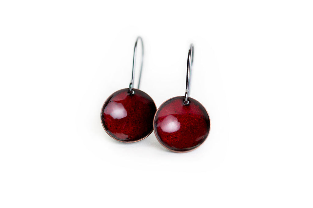 Pebble Earrings - Brick Red