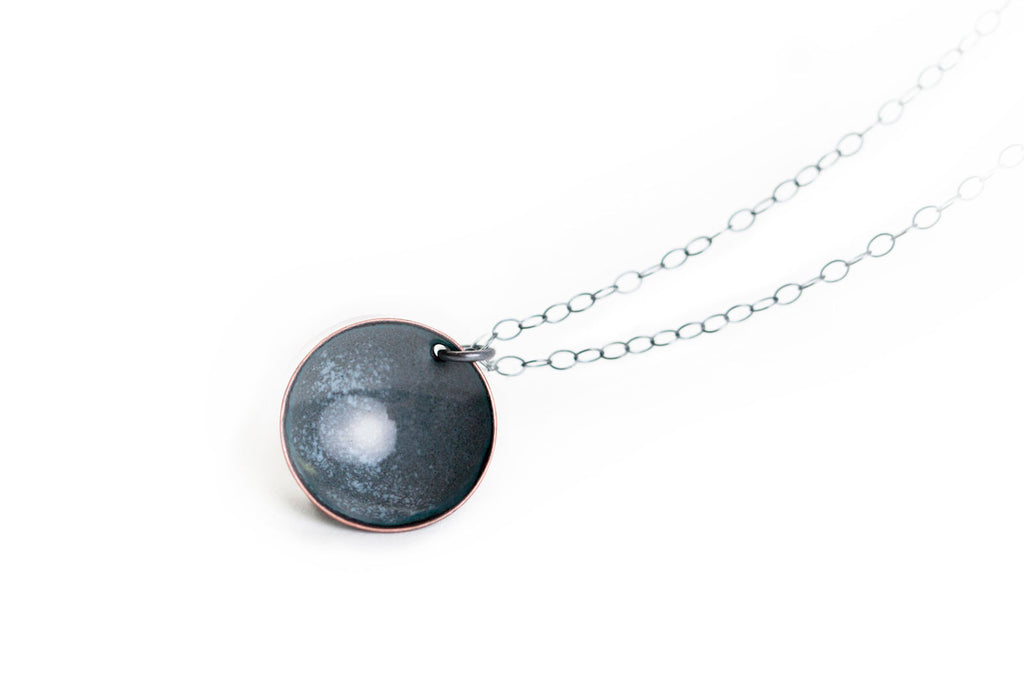 Pebble Necklace - Charcoal with Stone