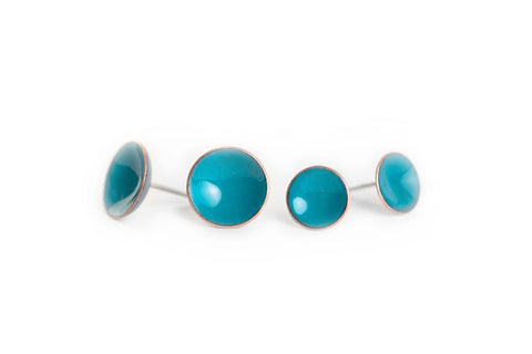 Pebble Studs - Vibrant Blue - Choose From Two Sizes