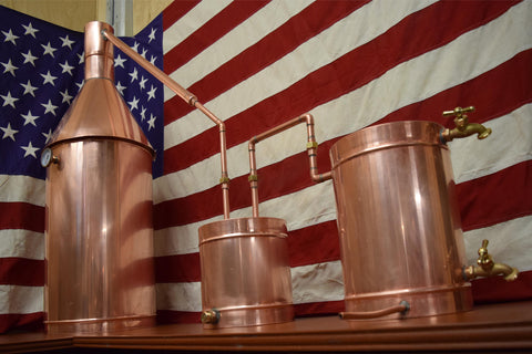 10 Gallon Copper Moonshine Still with Thumper, Worm, Pot, Cap and Temp Gauge