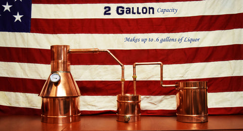 2 Gallon Copper Moonshine Still, 0.6 Gallons of Liquor Capacity