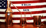 6 Gallon Copper Moonshine / Liquor Still WITH 110v heating element w/ controller