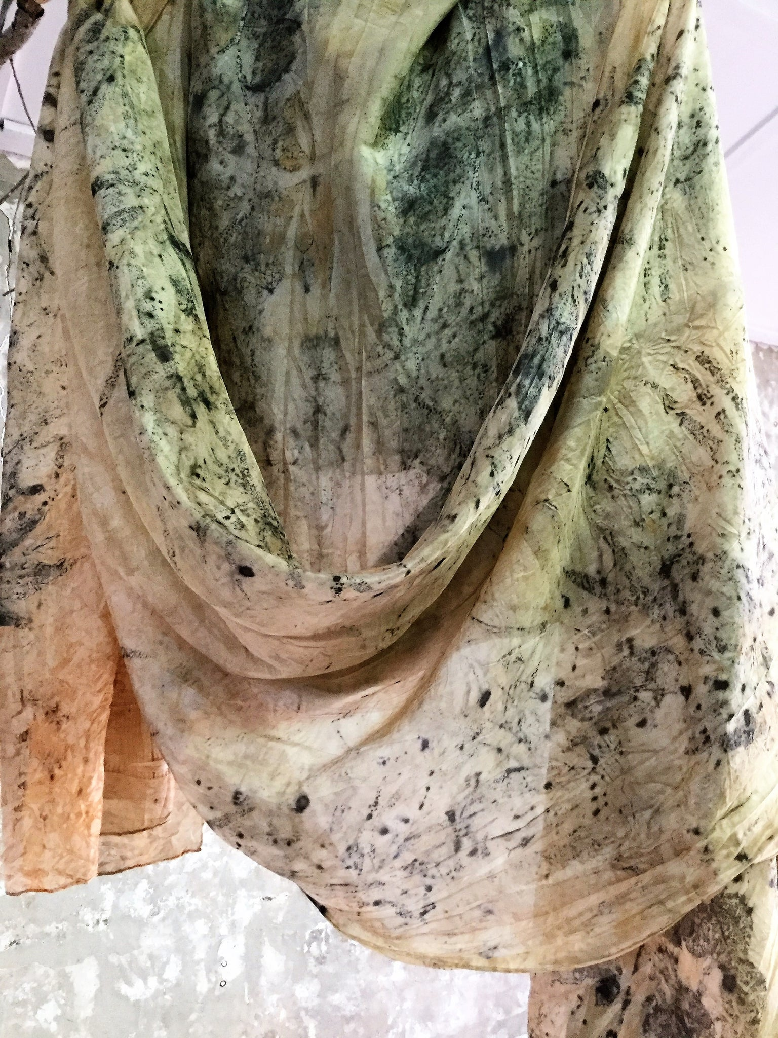 Eco Print Silk Scarf - September 16