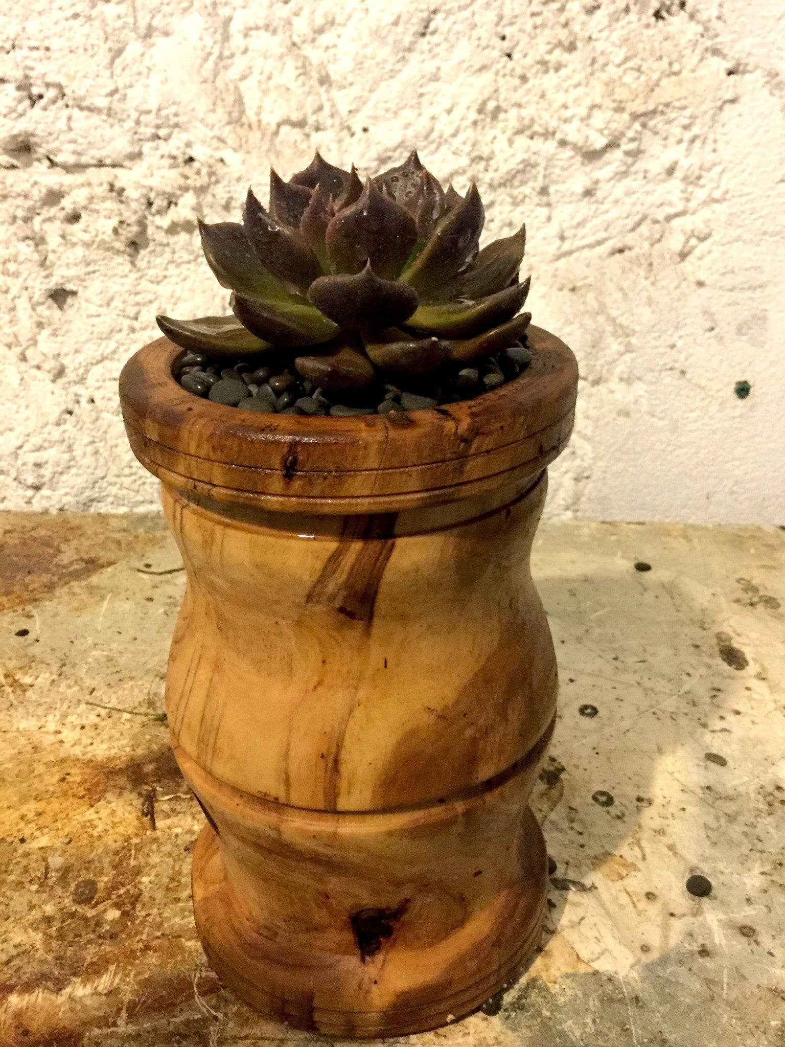 Turned wooden planter - tall ridged