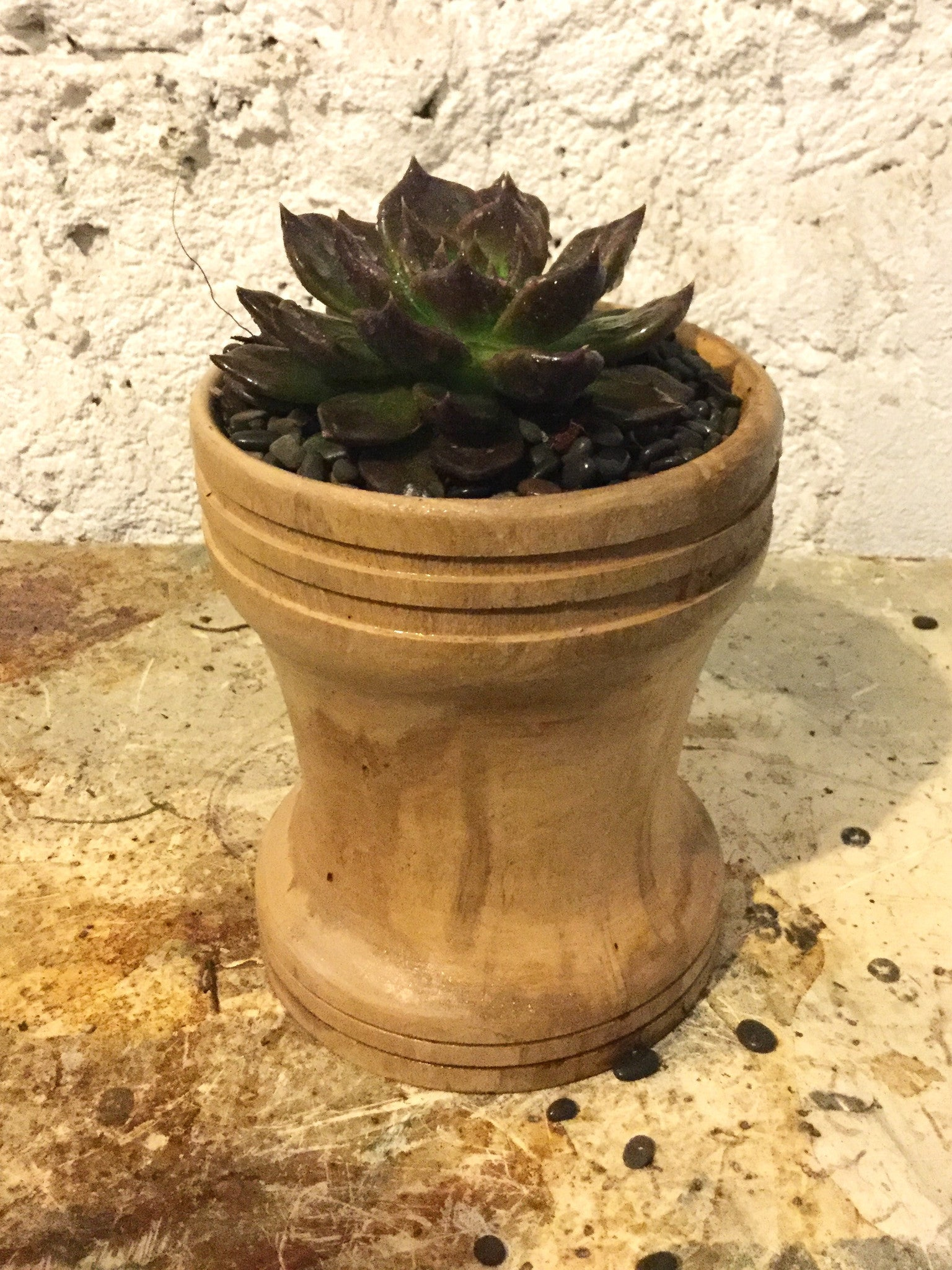 Turned wooden planter - smooth ridged
