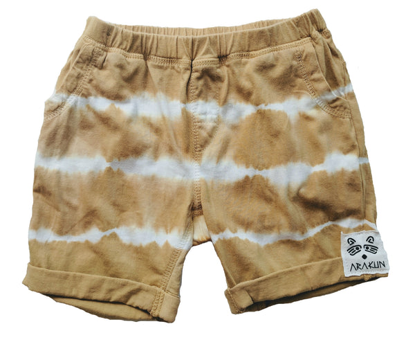 Organic Beach Shack Shorts in Mustard Tie Dye