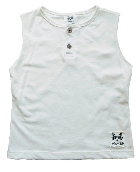 Organic Coco Muscle Tee in Natural White - Arakun