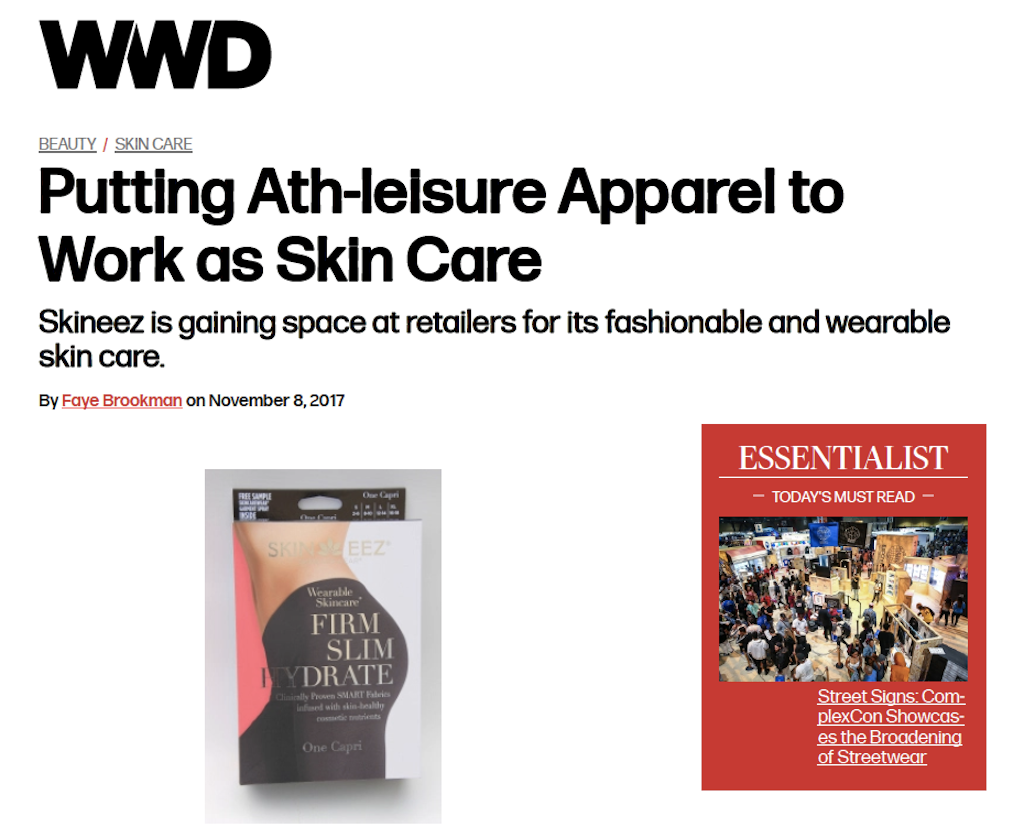 WWD Features SKINEEZ Ath-leisure Apparel for Fashionable and Wearable Skin Care