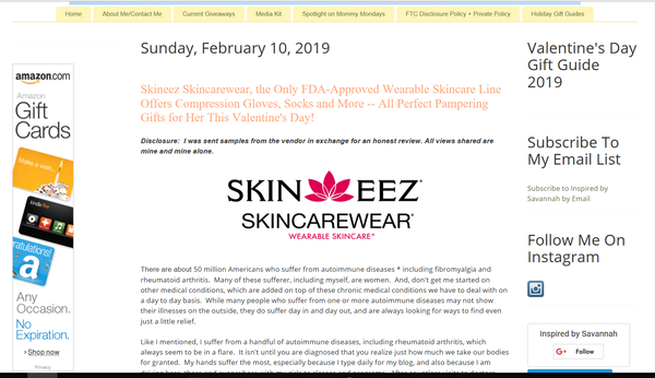 Skineez Skincarewear, the Only FDA-Approved Wearable Skincare Line Offers Compression Gloves, Socks and More -- All Perfect Pampering Gifts for Her This Valentine's Day!