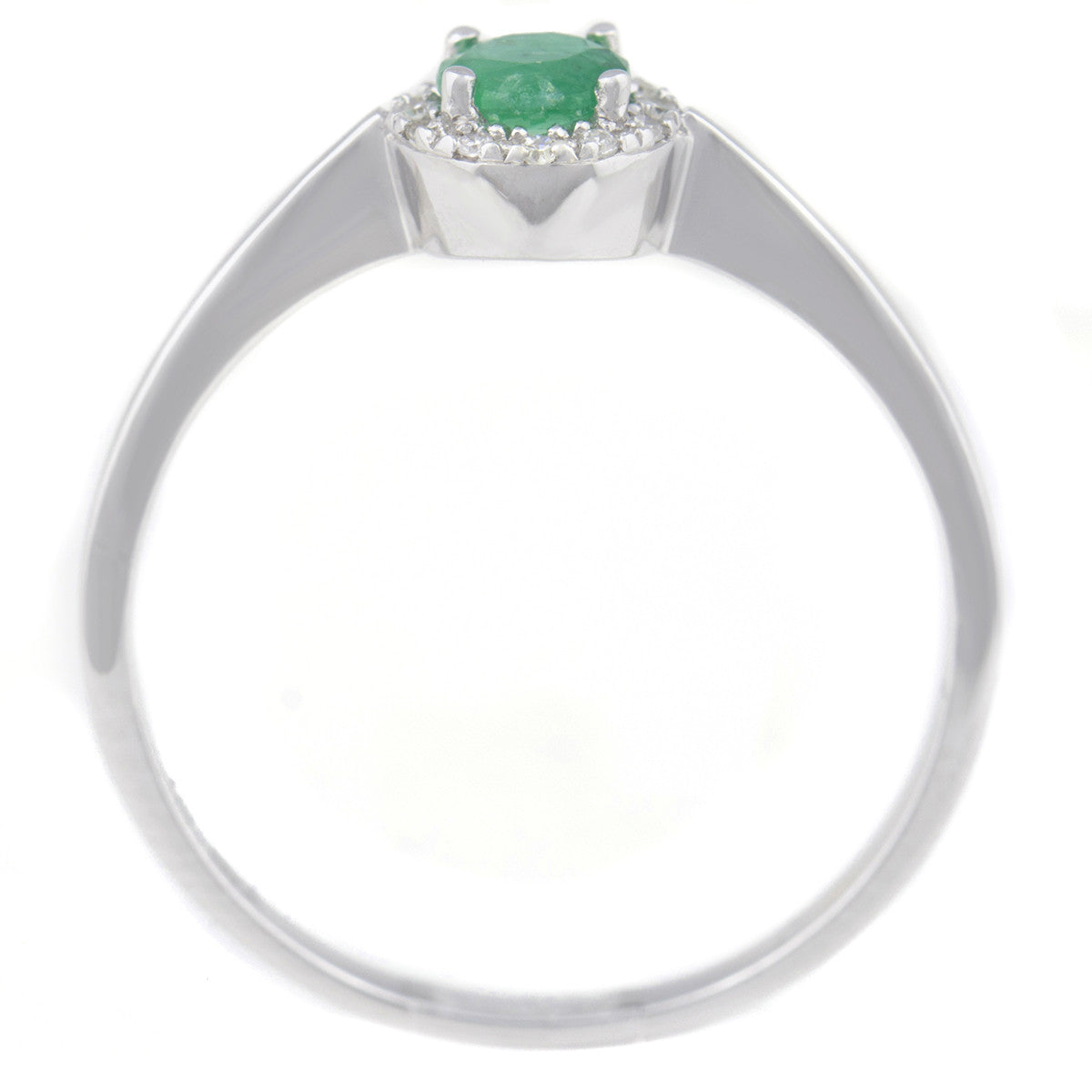 9K SOLID WHITE GOLD 0.30CT NATURAL EMERALD HALO RING WITH 12 DIAMONDS.