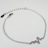 925 STERLING SILVER BRACELET WITH EKG HEARTBEAT CHARM.