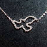 925 STERLING SILVER NECKLACE WITH DOVE PENDANT SET IN SPARKLING CRYSTALS.