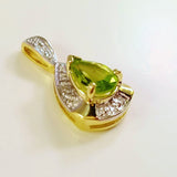 SOLID 9K YELLOW GOLD 0.70CT ART DECO STYLE NATURAL PERIDOT AND DIAMOND PENDANT.