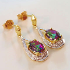 9K SOLID GOLD 1.85CT MYSTIC TOPAZ AND DIAMOND EARRINGS.