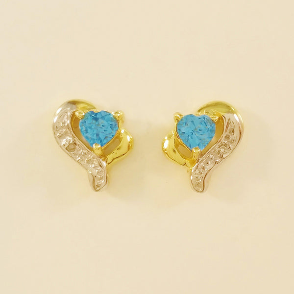 9K SOLID GOLD 0.45CT SWISS BLUE TOPAZ AND DIAMOND STUD EARRINGS.