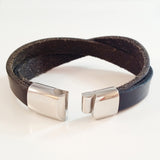 MEN'S LAYERED FULL GRAIN COW HIDE LEATHER BRACELET WITH STAINLESS STEEL CLASP.