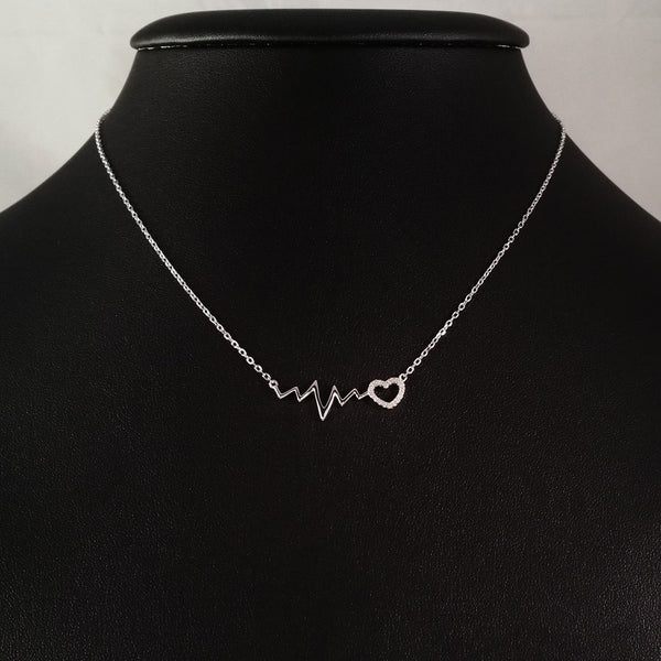 925 STERLING SILVER NECKLACE WITH EKG HEARTBEAT AND LOVE-HEART PENDANT SET IN SPARKLING CRYSTALS.