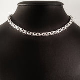 MEN'S 46 CM GENUINE STERLING SILVER ROPE LINK CHAIN CHOKER NECKLACE.