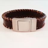MEN'S BROWN OUTER BRAIDED COW HIDE LEATHER BRACELET WITH BRUSHED STAINLESS STEEL CLASP