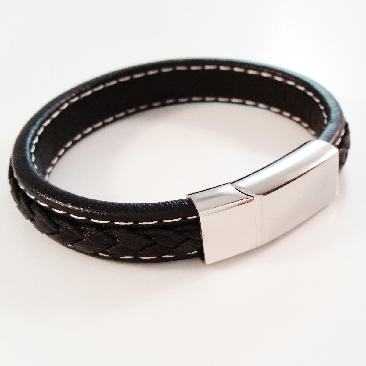 MEN'S BLACK COW HIDE LEATHER BRACELET WITH POLISHED STAINLESS STEEL CLASP
