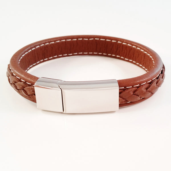 MEN'S BROWN COW HIDE LEATHER BRACELET WITH POLISHED STAINLESS STEEL CLASP