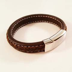 MEN'S DARK BROWN COW HIDE LEATHER BRACELET WITH POLISHED STAINLESS STEEL CLASP
