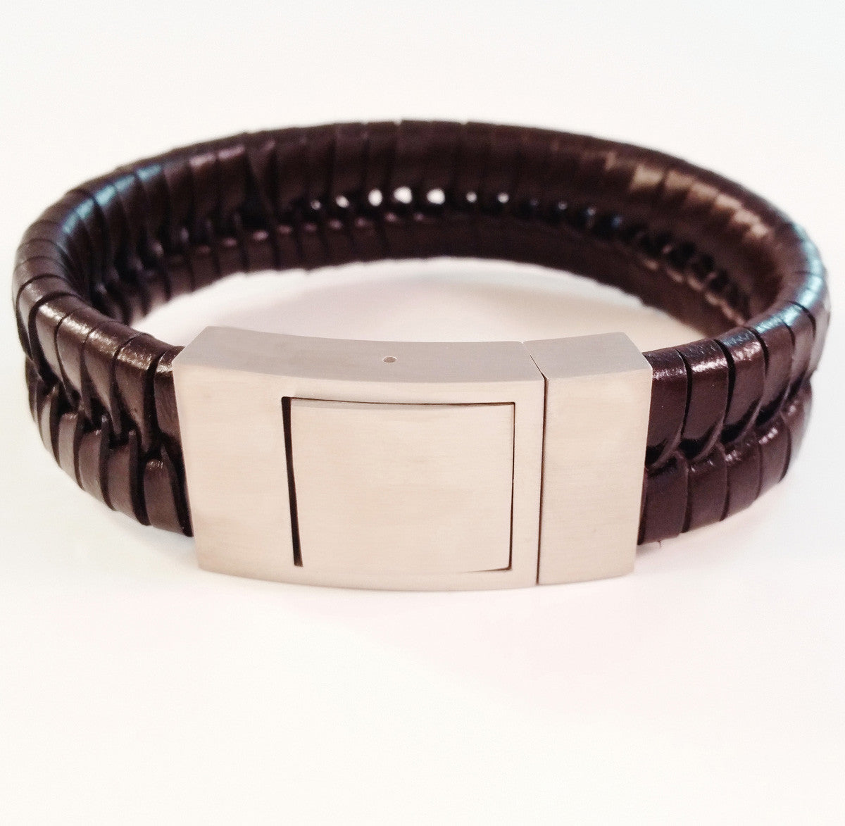 0b497719e34c4 MEN'S BROWN BRAIDED COW HIDE LEATHER BRACELET WITH BRUSHED STAINLESS ...
