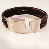 MEN'S BROWN BRAIDED COW HIDE LEATHER BRACELET WITH BRUSHED STAINLESS STEEL CLASP
