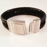 MEN'S BLACK BRAIDED COW HIDE LEATHER BRACELET WITH BRUSHED STAINLESS STEEL CLASP