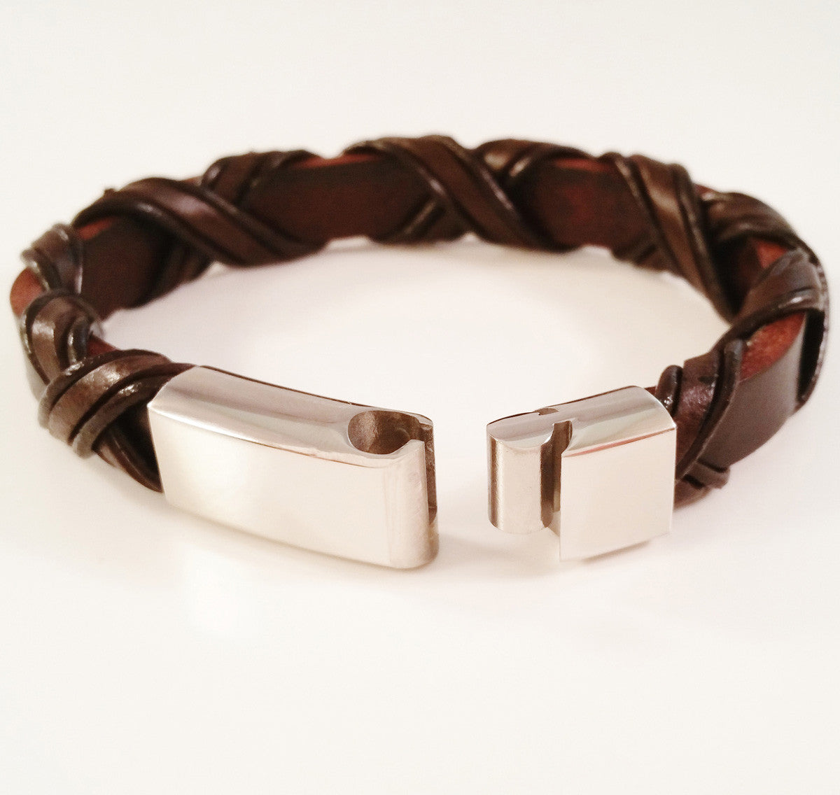 MEN'S BROWN BRAIDED WRAP COW HIDE LEATHER BRACELET WITH POLISHED STAINLESS STEEL CLASP