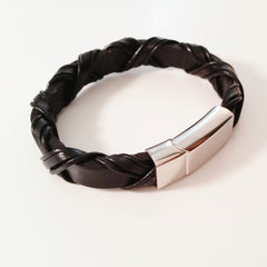 MEN'S BLACK BRAIDED WRAP COW HIDE LEATHER BRACELET WITH POLISHED STAINLESS STEEL CLASP